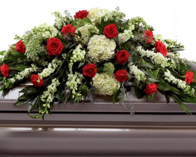 Green & Red Double Ended Casket Spray