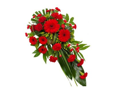Red Lily Singled Ended Casket Spray