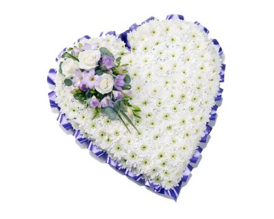 White Heart with Lilac Ribbon
