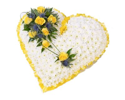 White Heart with Yellow Ribbon
