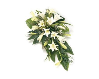 White Lily Singled Ended Casket Spray