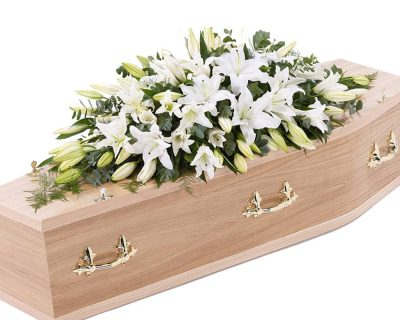 White Lily Double Ended Casket Spray